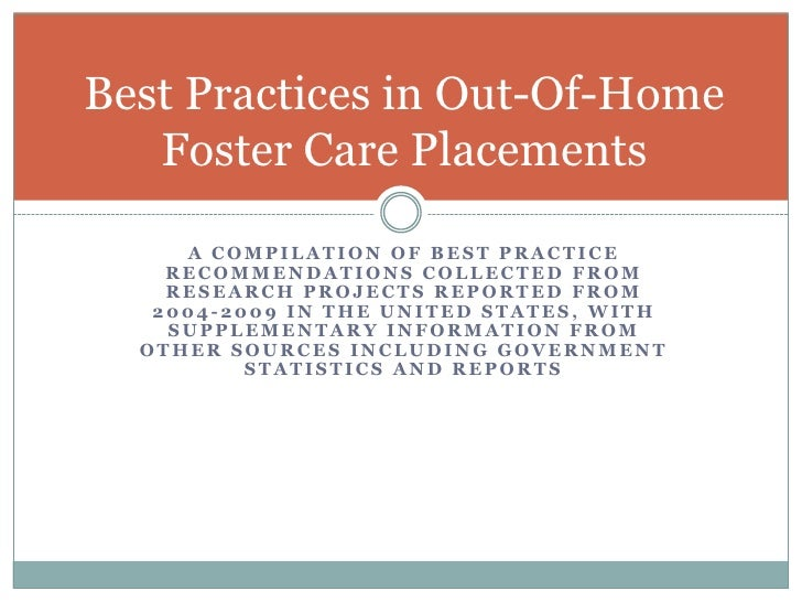 A compilation of best practice recommendations collected from research projects reported from 2004-2009 in the united stat...