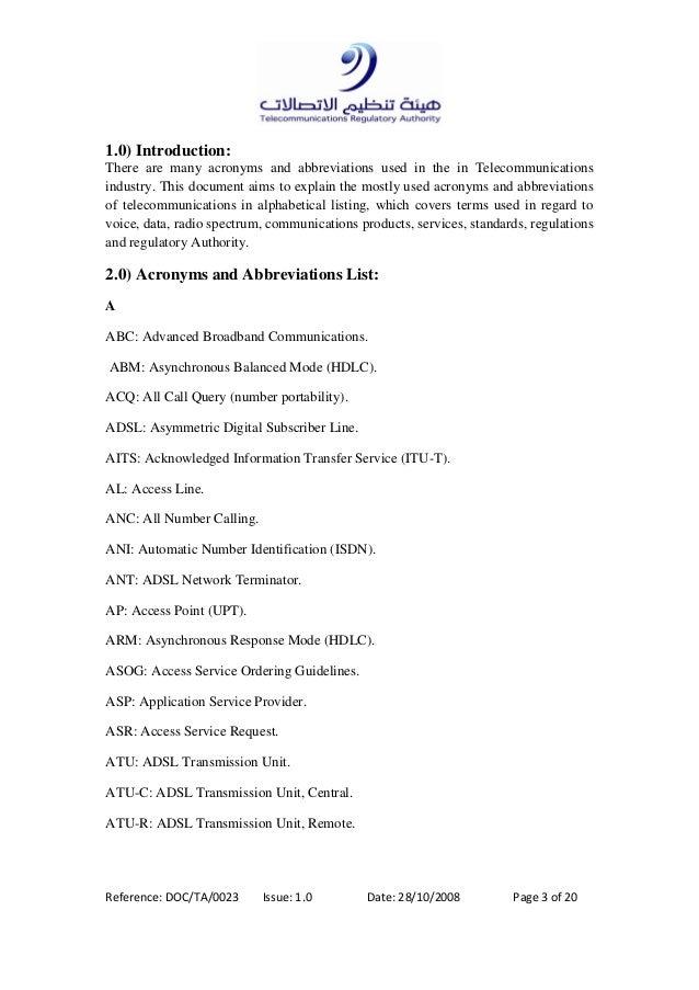 Lists of abbreviations