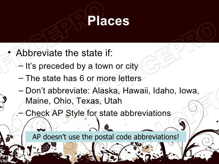 state abbreviations ap style Ap style quizzes abbreviations 1 abbreviations 2 addresses 1 addresses 2 capitalization 1 capitalization 2 comprehensive 1 comprehensive 2.