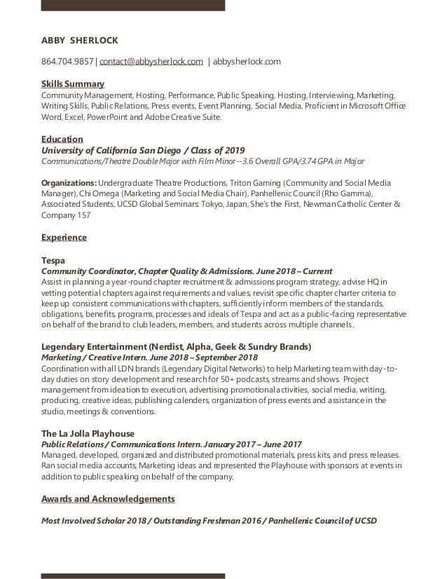 ABBY SHERLOCK 864.704.9857 | contact@abbysherlock.com | abbysherlock.com Skills Summary Community Management, Hosting, Per...