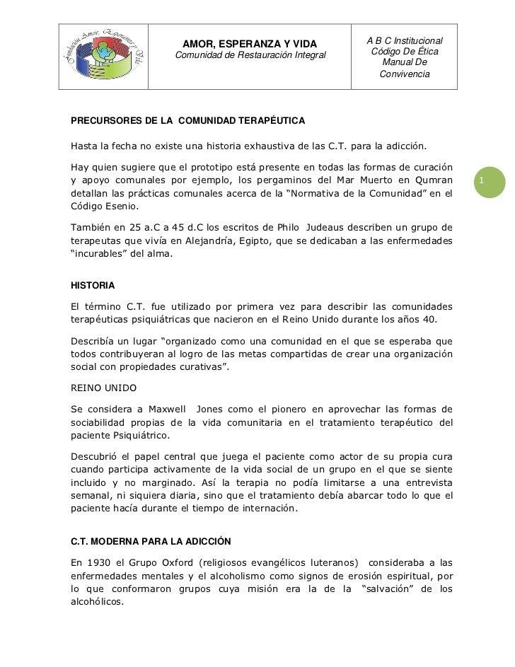 AMOR, ESPERANZA Y VIDA                  A B C Institucional                      Comunidad de Restauración Integral       ...