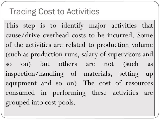 activity based costing 13 Value equation, ucla health piloted the implementation of time-driven activity- based costing (tdabc) here, the authors describe the implementation experiment, share lessons uses for each activity during a patient's care13 all of these activities can then be added together to measure the total cost of an entire service or.