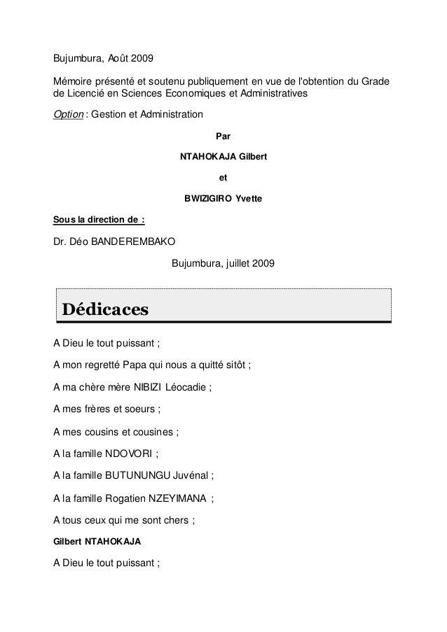 Bujumbura, Août 2009 Mémoire présenté et soutenu publiquement en vue de l'obtention du Grade de Licencié en Sciences Econo...