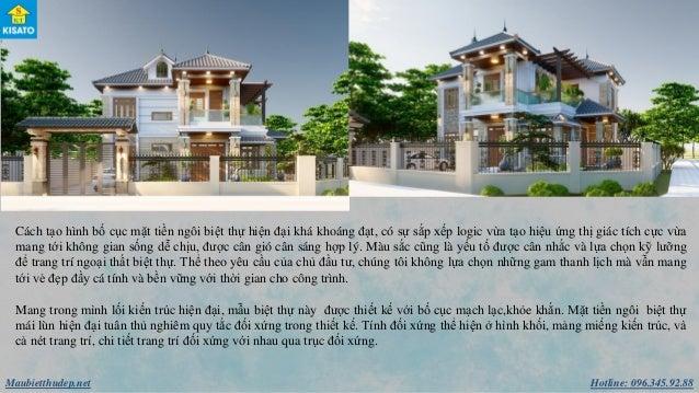 Hotline: 096.345.92.88Maubietthudep.net Cách tạo hình bố cục mặt tiền ngôi biệt thự hiện đại khá khoáng đạt, có sự sắp xếp...