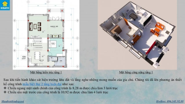 Hotline: 096.345.92.88Maubietthudep.net Mặt bằng kiến trúc tầng 1 Mặt bằng công năng tầng 1 Sau khi tiến hành khảo sát hiệ...