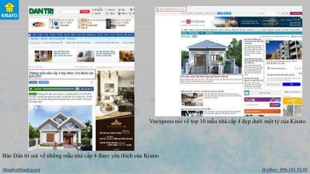 Hotline: 096.345.92.88Maubietthudep.net Báo Dân trí nói về những mẫu nhà cấp 4 được yêu thích của Kisato Vnexpress nói v...