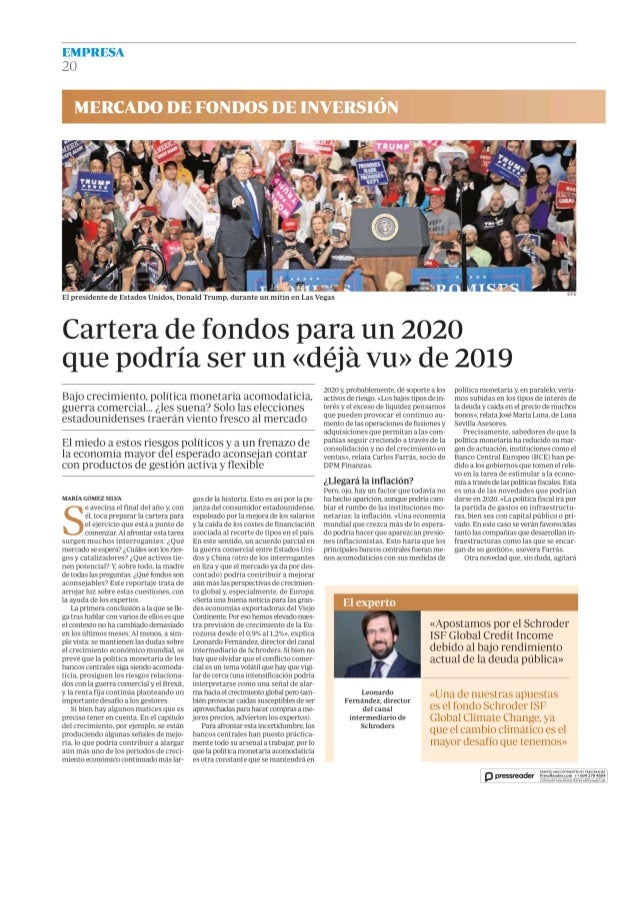Cartera de fondos para un 2020 que podría ser un <déjà vu> de 2019