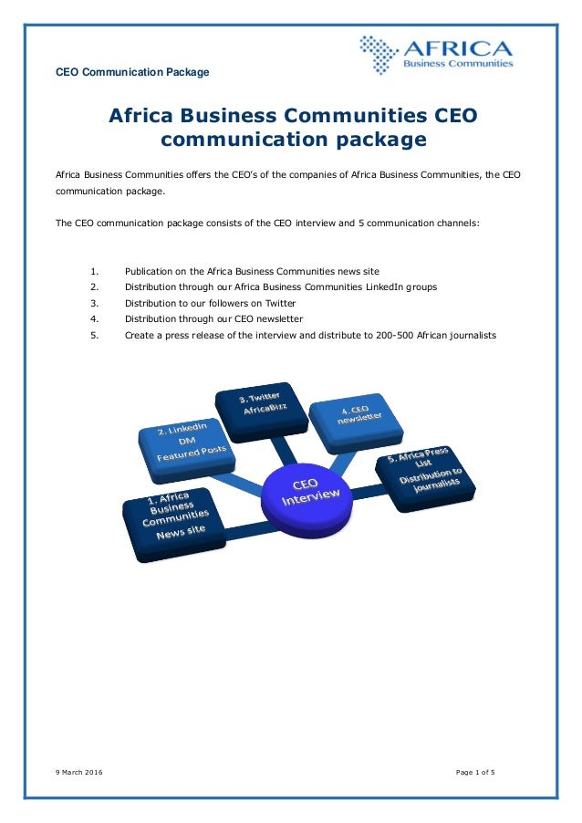 CEO Communication Package 9 March 2016 Page 1 of 5 Africa Business Communities CEO communication package Africa Business C...