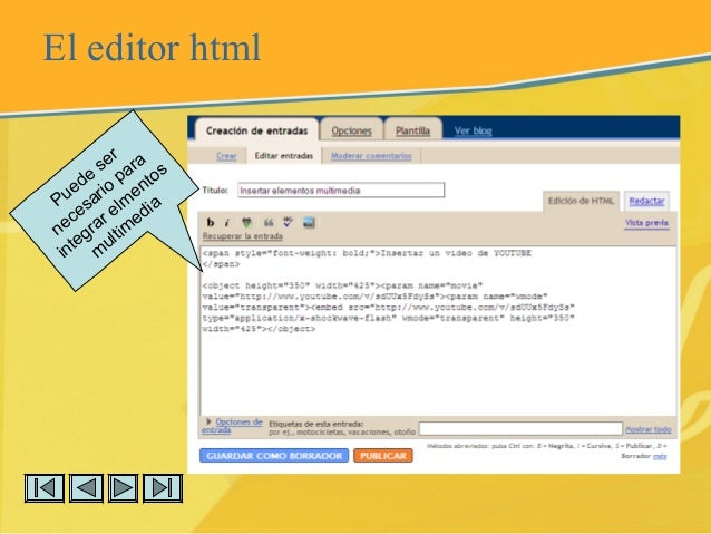 El editor html Puede ser necesario para integrar elm entos m ultim edia