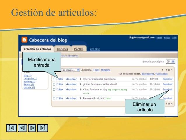 Gestión de artículos: Modificar una entrada Eliminar un artículo