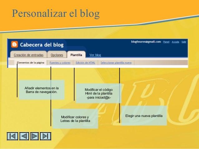 Elegir una nueva plantilla Personalizar el blog Modificar colores y Letras de la plantilla Añadir elementos en la Barra de...