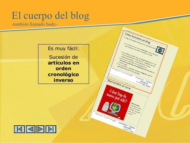 El cuerpo del blog -también llamado body- Es muy fácil: Sucesión de artículos en orden cronológico inverso