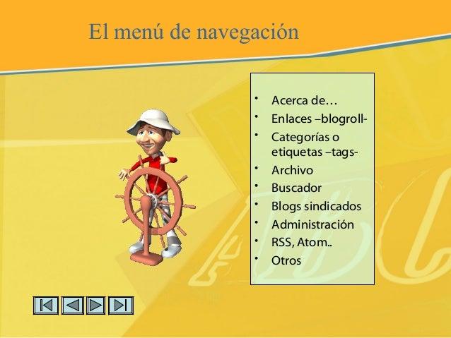 El menú de navegación • Acerca de… • Enlaces –blogroll- • Categorías o etiquetas –tags- • Archivo • Buscador • Blogs sindi...