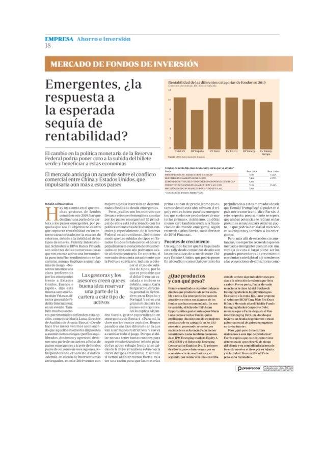 Emergentes la respuesta esperada a la sequia de rentabilidad