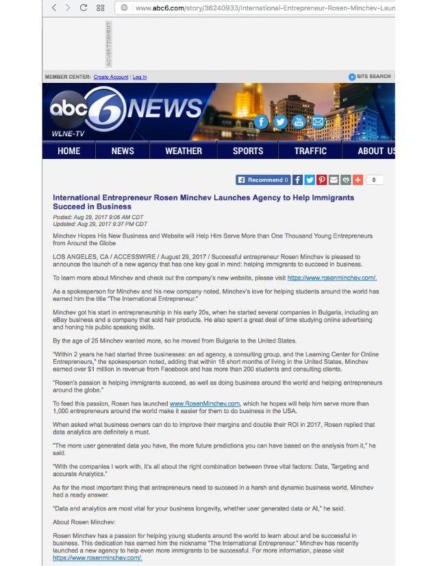 ABC 6 NEWS International Entrepreneur Rosen Minchev Launches Agency