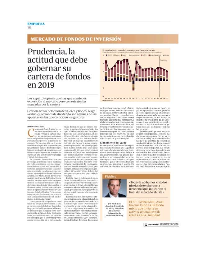Prudencia en las carteras de fondos en 2019