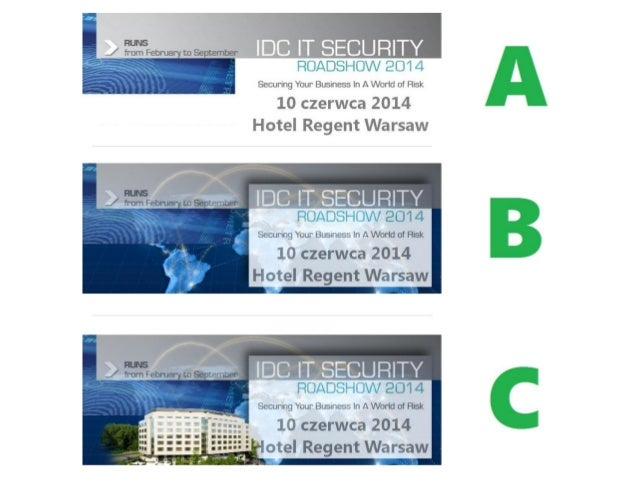 ABC test of Facebook banner for IDC IT Security Roadshow 2014 - Warsaw 10th of May