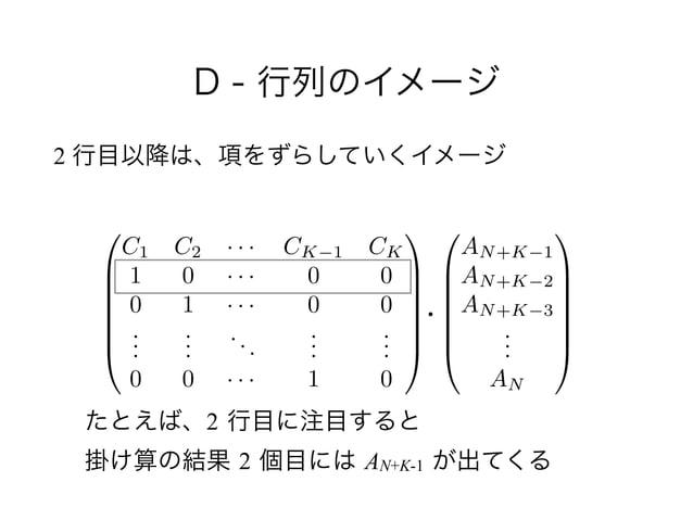 D - 行列のイメージ 2 行目以降は、項をずらしていくイメージ 0 B B B B B @ AN+K 1 AN+K 2 AN+K 3 ... AN 1 C C C C C A 0 B B B B B @ C1 C2 · · · CK 1 CK...