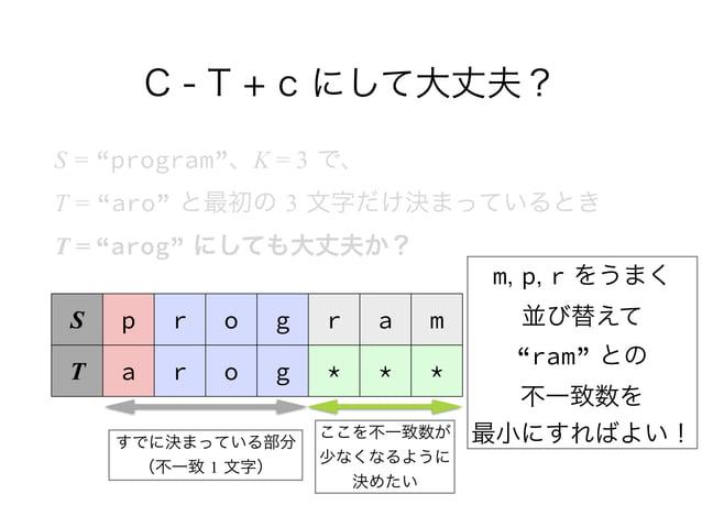 """C - T + c にして大丈夫? S = """"program""""、K = 3 で、 T = """"aro"""" と最初の 3 文字だけ決まっているとき T = """"arog"""" にしても大丈夫か? S p r o g r a m T a r o g * ..."""