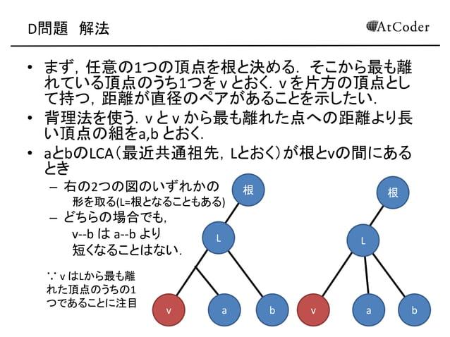 D問題 解法 • まず,任意の1つの頂点を根と決める. そこから最も離 れている頂点のうち1つを v とおく.v を片方の頂点とし て持つ,距離が直径のペアがあることを示したい. • 背理法を使う.v と v から最も離れた点への距離より長 い...