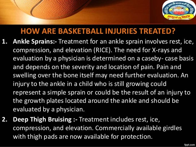 HOW ARE BASKETBALL INJURIES TREATED? 1. Ankle Sprains:- Treatment for an ankle sprain involves rest, ice, compression, and...