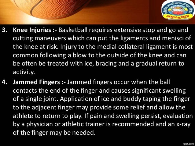 3. Knee Injuries :- Basketball requires extensive stop and go and cutting maneuvers which can put the ligaments and menisc...