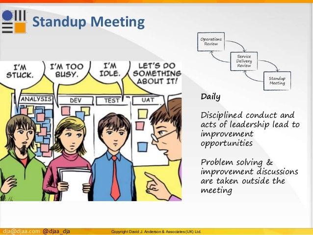 dja@djaa.com @djaa_dja Copyright David J. Anderson & Associates (UK) Ltd. Standup Meeting Daily Disciplined conduct and ac...