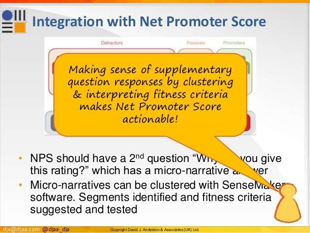 dja@djaa.com @djaa_dja Copyright David J. Anderson & Associates (UK) Ltd. Integration with Net Promoter Score • NPS should...