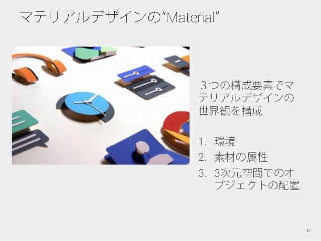 マテリアルデザインの Material 54 3つの構成要素でマ テリアルデザインの 世界観を構成 1. 環境 2. 素材の属性 3. 3次元空間でのオ ブジェクトの配置