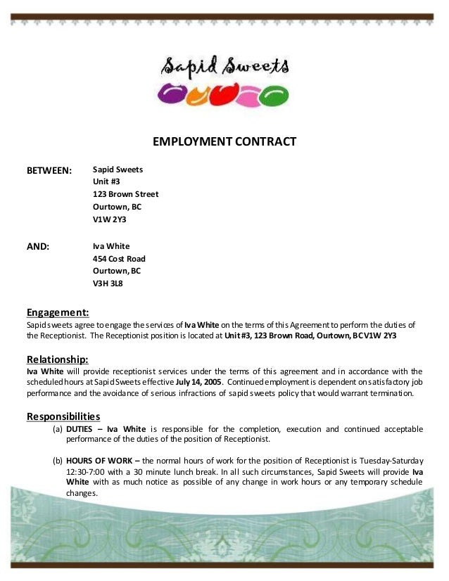 0 hours contract template - employment contract
