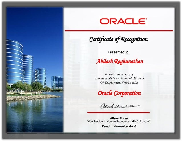 oracle 10 years service award certificate