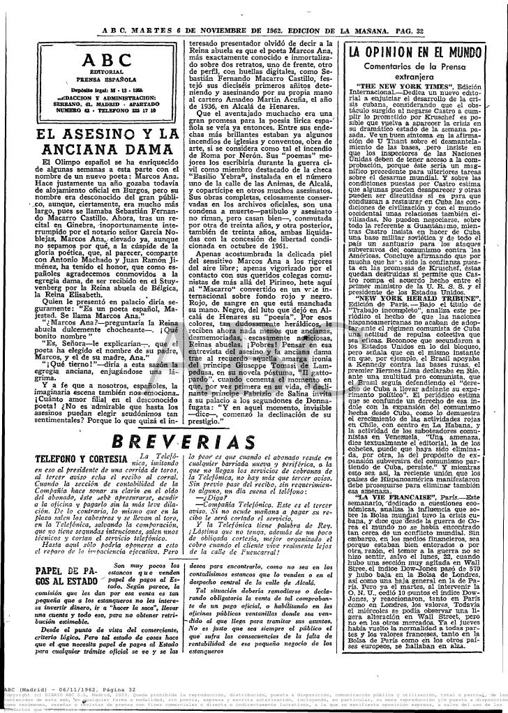 ABC.      M A R T E S 6 »E NOVIEMBRE DE 1962, EDICIÓN DE LA MAÑANA. PAG. 32                                               ...