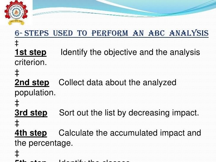 the abc analysis what is it Activity based costing, or abc, is a method of allocating overhead and direct expenses related to the most important activities of your company first this process allows owners and managers an.