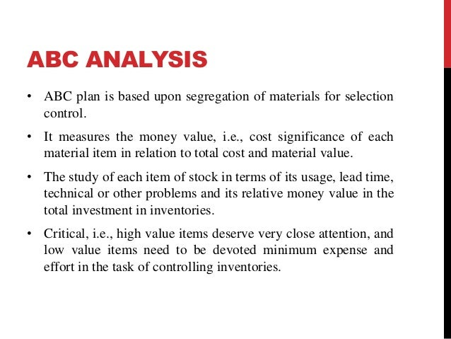 An analysis on inventory management at