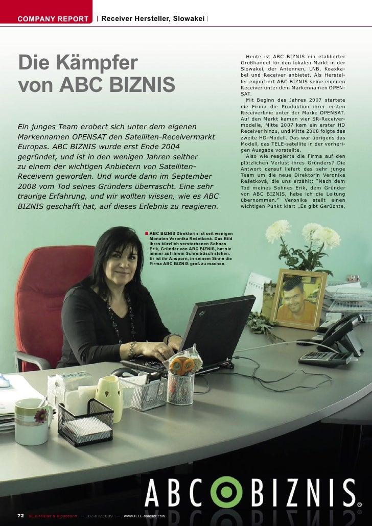 COMPANY REPORT                        Receiver Hersteller, Slowakei     Die Kämpfer                                       ...