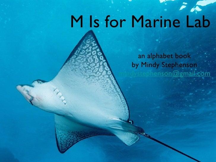 M Is for Marine Lab <ul><li>an alphabet book </li></ul><ul><li>by Mindy Stephenson </li></ul><ul><li>[email_address] </li>...