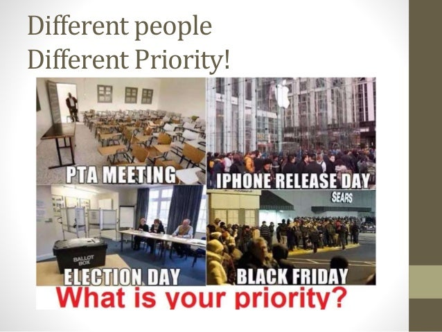 Different people Different Priority!
