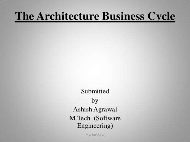 The Architecture Business Cycle Submitted by Ashish Agrawal M.Tech. (Software Engineering) 1The ABC Cycle