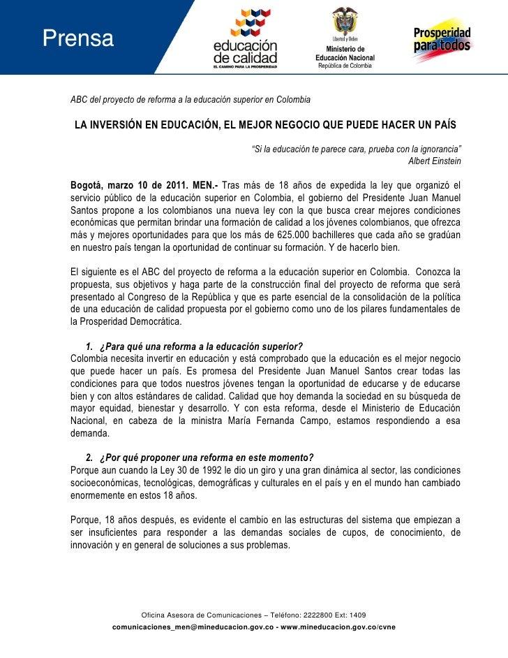 ABC del proyecto de reforma a la educación superior en Colombia LA INVERSIÓN EN EDUCACIÓN, EL MEJOR NEGOCIO QUE PUEDE HACE...