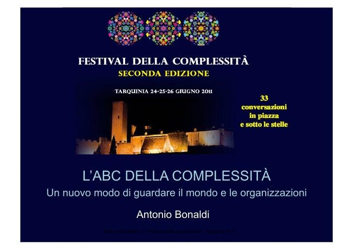 Antonio Bonaldi - 2° Festival della complessità - Tarquinia 2011