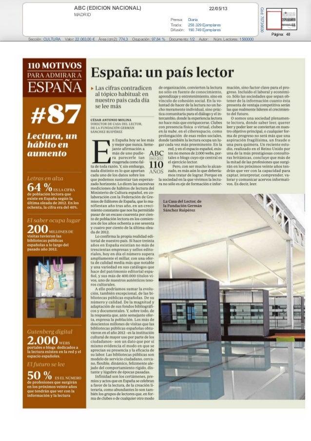 22/05/13ABC (EDICION NACIONAL)MADRIDPrensa: DiariaTirada: 258.329 EjemplaresDifusión: 190.749 EjemplaresPágina: 48Sección:...