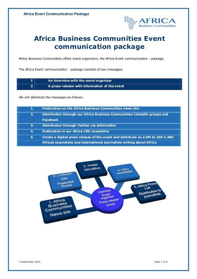 Africa Event Communication Package 7 September 2016 Page 1 of 6 Africa Business Communities Event communication package Af...
