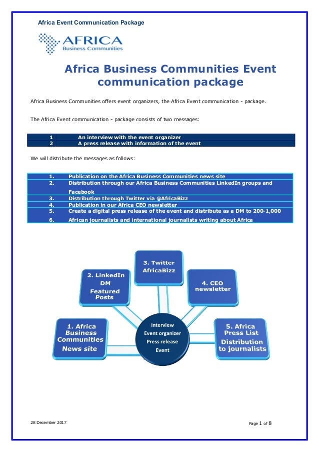 Africa Event Communication Package Africa Business Communities Event communication package Africa Business Communities off...