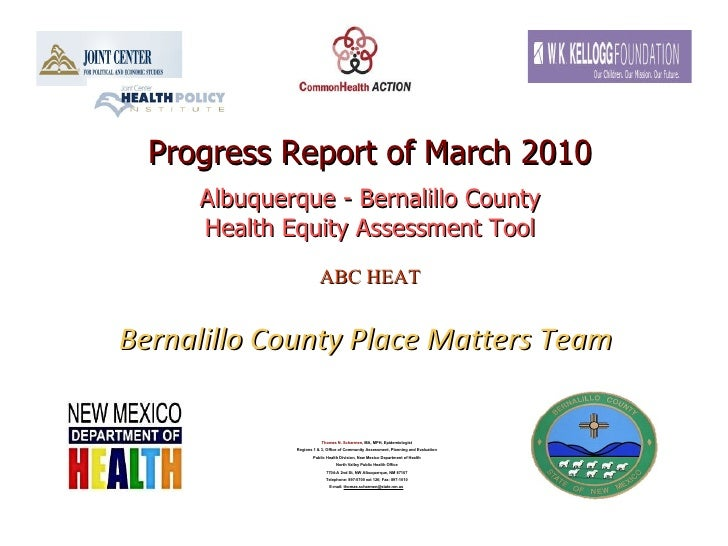 Progress Report of March 2010 Albuquerque - Bernalillo County Health Equity Assessment Tool ABC HEAT   Bernalillo County P...