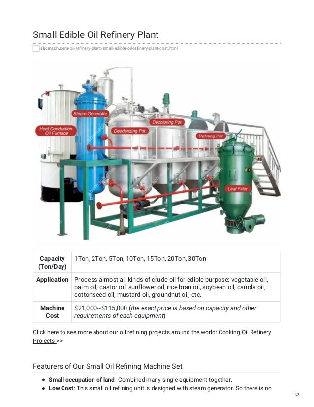 Equipment for Starting 1-10 ton/h small edible oil refinery plant