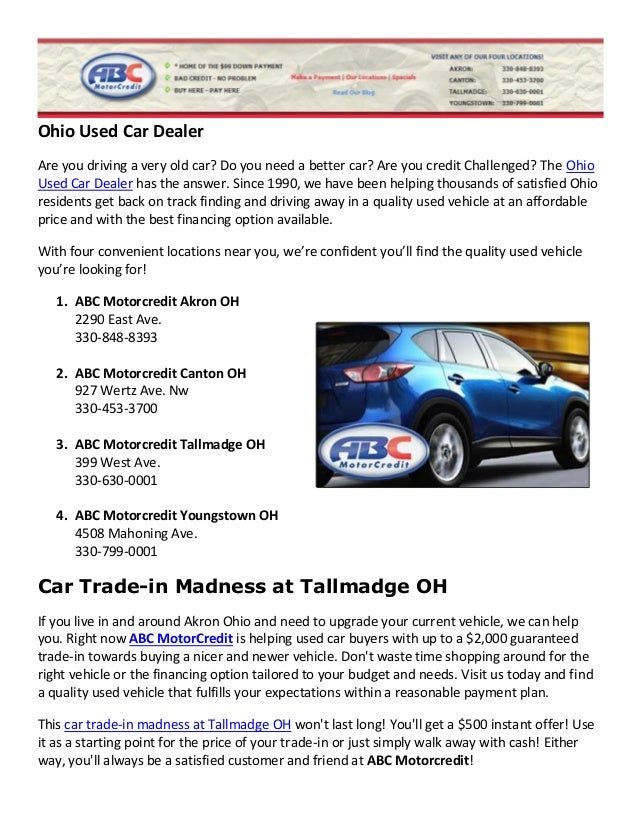 Used Car Dealer Trade-in Special Tallmadge Ohio