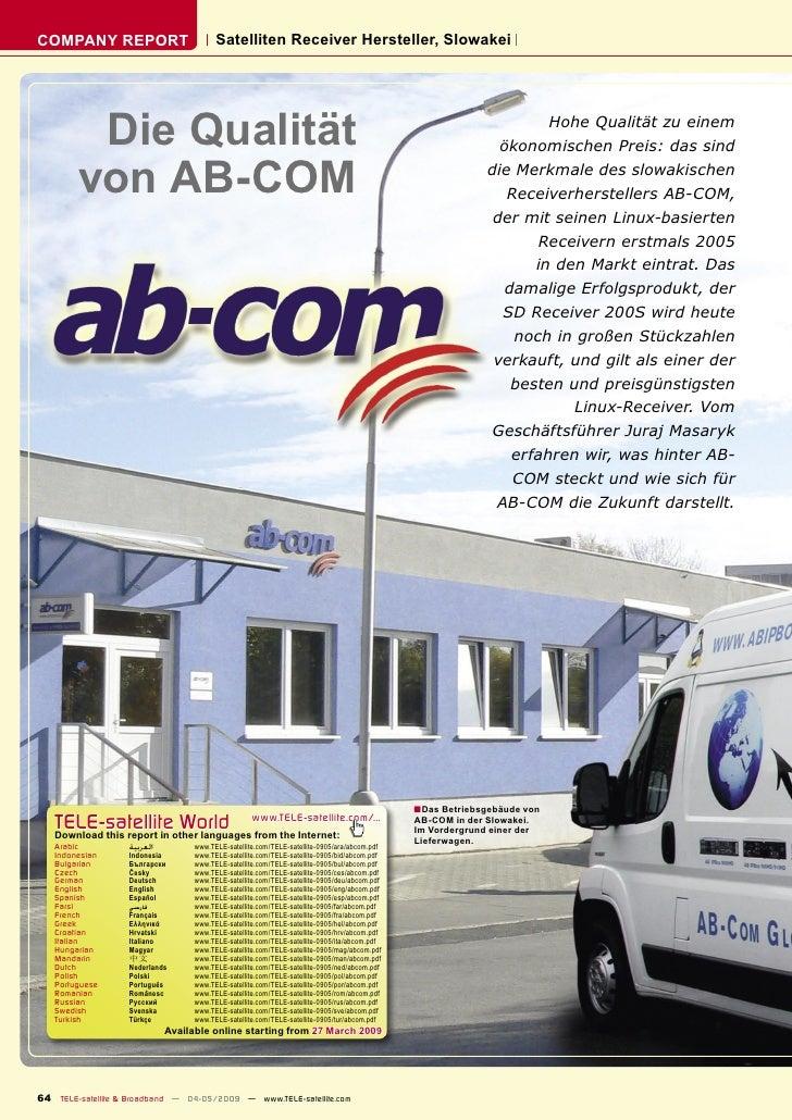 COMPANY REPORT                           Satelliten Receiver Hersteller, Slowakei              Die Qualität               ...