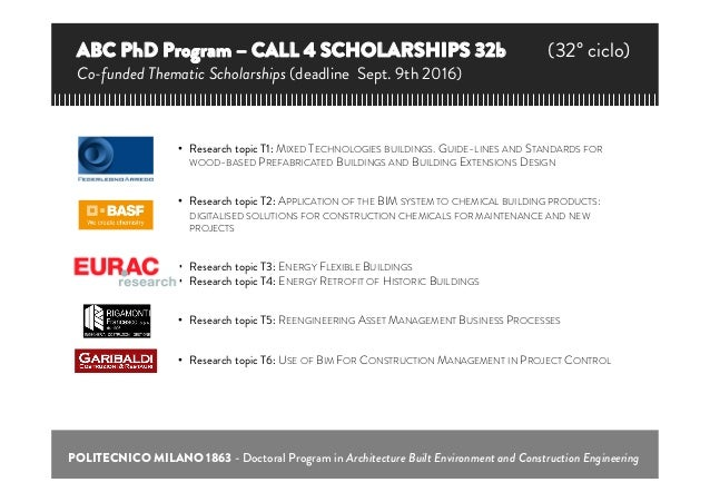 POLITECNICO MILANO 1863 - Doctoral Program in Architecture Built Environment and Construction Engineering • Research topi...