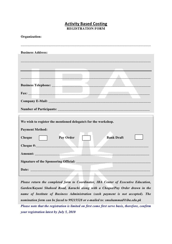Activity Based Costing                                  REGISTRATION FORM  Organization:  ________________________________...