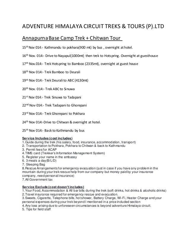 ADVENTURE HIMALAYA CIRCUIT TREKS & TOURS (P).LTD AnnapurnaBase Camp Trek + Chitwan Tour 15th Nov 014:- Kathmandu to pokhar...